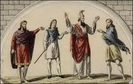 Anglo-saxon d'une classe distinguée // en manteau // d'un rang élevé // manière de porter le manteau.