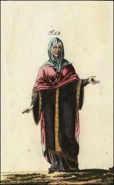 Anglo-saxonne en robe à larges manches