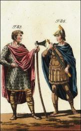 F83: Guido, comte de Ponthieu, son manteau, sa cuirasse, sa masse d'armes  //   F84: Ecuyer de Lothaire, son casque, sa cuirasse