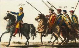 F90: Chef des guerriers du comte de Ponthieu  // F91, 92, 93 et 94: Guerriers du comte de Ponthieu en armes