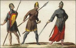 F122, 123 et 124: Soldats Normand en cotte de mailles et armement