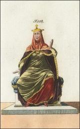 F128: Reine Normande avec sa couronne, son voile, son manteau