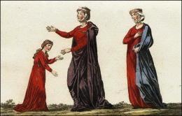 F136: Jeune Normande  // F137 et 138: Normande en tunique et manteau, son voile, sa coiffure