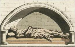 F140: Noble Normand et sa cotte d'armes, son surtout militaire, son chapel ou bonnet de mailles. Ce monument se trouve dans l'église de Danbury, dans le comté d'Essex