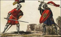 F157 et 158: Chevaliers combattant à pied, leur épée, leur casque, leur surtout militaire