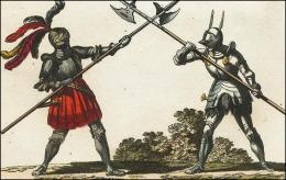 F159 et 160: Chevaliers combattant à pied, leur hallebarde, leur casque