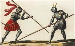 F161 et 162: Chevaliers combattant à pied, leur lance, leur casque