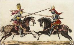 F163 et 164: Chevaliers combattant à cheval, leur lance, leur casque