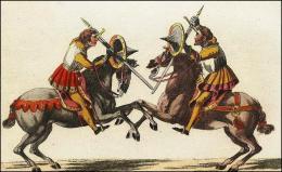 F165 et 166: Chevaliers combattant à cheval, leur épée