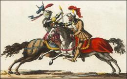 F167 et 168: Chevaliers combattant à cheval, leur poignard