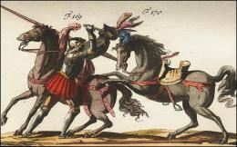 F169 et 170: Chevaliers combattant à cheval, poignard de miséricorde, leur casque