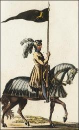 F171: Chevalier, cheval bardé, son étendard