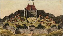 F235: Château ordinaire d'un chevalier, avec ses marques distinctes; savoir, une chaîne par-devant, des armets au-dessus de la porte, et des girouettes sur les tourelles