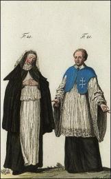 F20: Religieuse du monastère des Pénitentes, à Rome  //  F21: Chanoine régulier et hospitalier de l'ordre du S. Esprit, en habits de choeur, en Italie