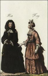 F28: Ancien habillement des dames religieuses de la maison royale de S. Louis, à S. Cyr  //  F29: Habillement des demoiselles de la maison de S. Cyr, lorsqu'elles portaient la croix