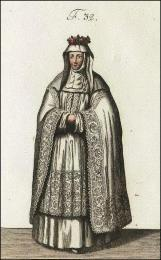F32: Religieuse Bénédictine de Notre-Dame de Ronceray, en habits de cérémonie